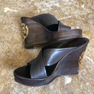 Tory Burch SOPHIA Leather strap wooden heel wedges
